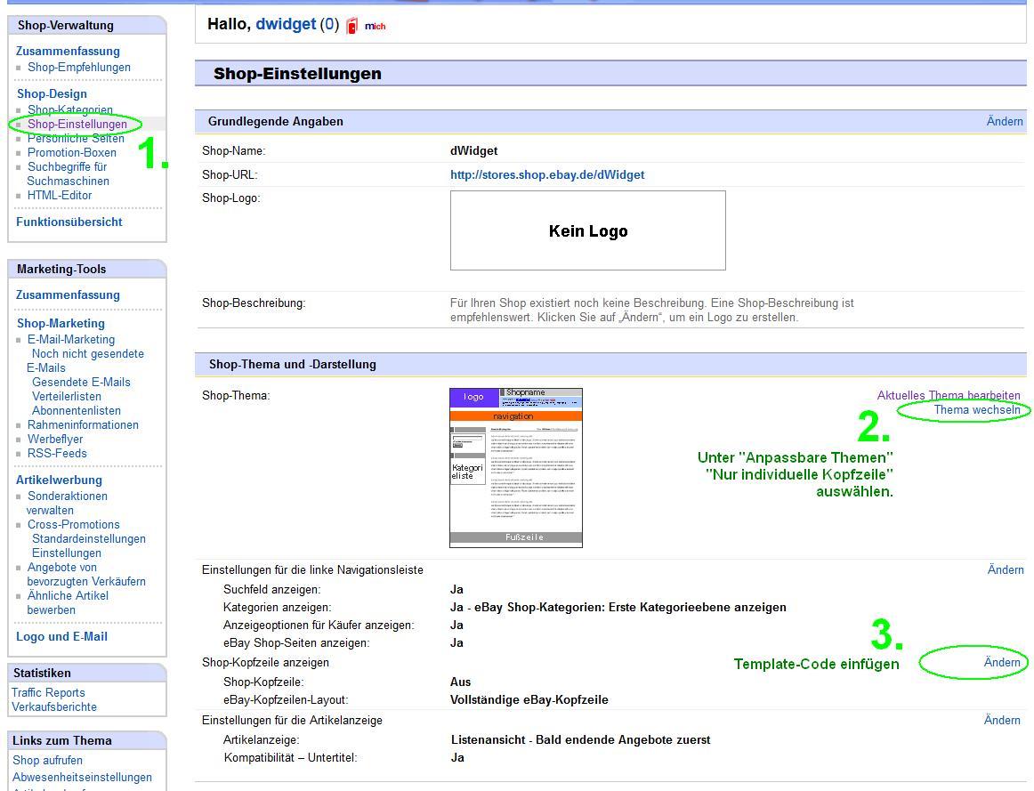 eBay-Shop mit eigenem HTML gestalten